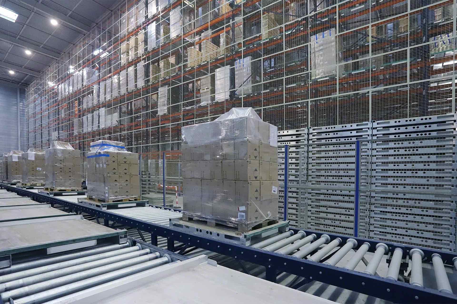Transportador industrial para almacén logístico