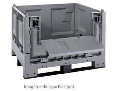 Contenedor de plástico construido con criterios de europalet.
