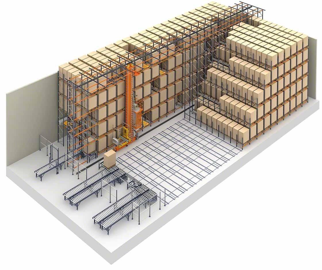 Representación de sistemas de almacenamiento compacto y Pallet Shuttle automático