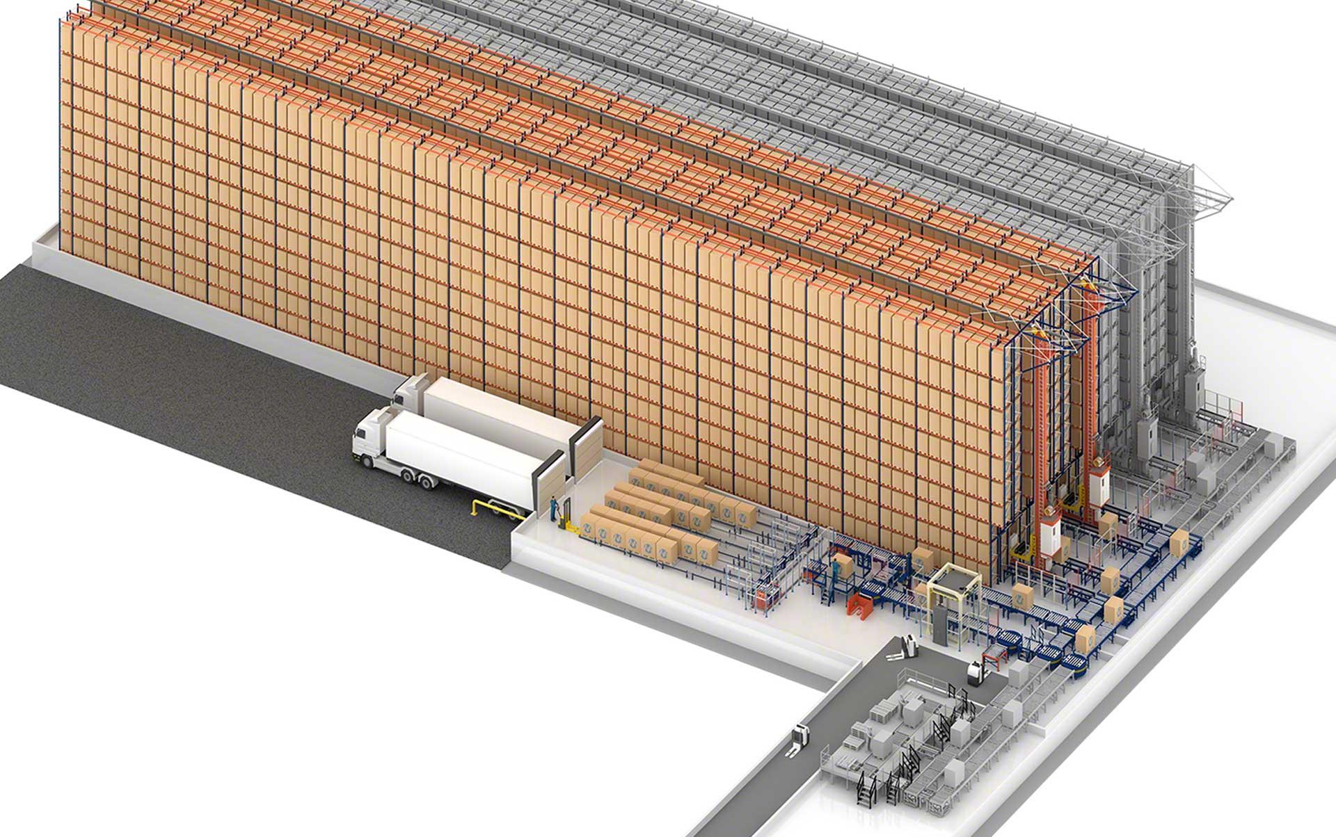 Almacén automático de Sabarot en Francia con capacidad para 6.376 tarimas